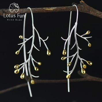 Women Real 925 Sterling Silver Creative Handmade Tree Branch Drop Earrings
