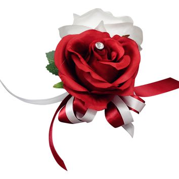 Corsage-Keepsake roses in Red and White