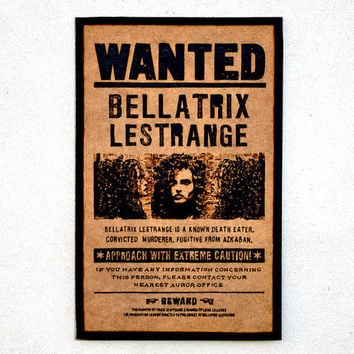 Harry Potter art - woodburned Bellatrix Lestrange wanted poster