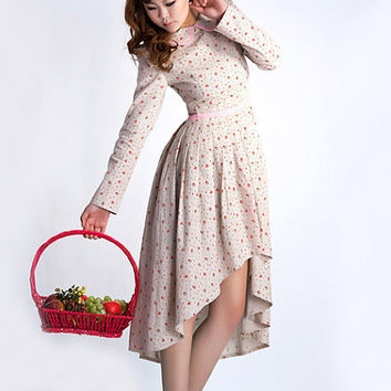 Linen dress floral womens long dress 0038 by xiaolizi on Etsy