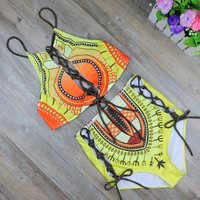 BeachShiny 2017 African Two-Pieces Bath Suits Bikini Set Sexy Geometric Swimwear Swimsuit High Waist Hollow out Swimming Suit