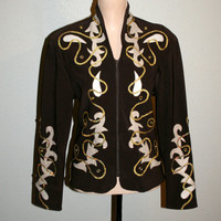 Women Western Jacket Size Medium Western Show Jacket Show Shirt Horse Show Cowgirl Rodeo Brown Gold Sequin Jacket Size 8 10 Women Clothing