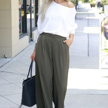 Wide Leg Trousers Olive