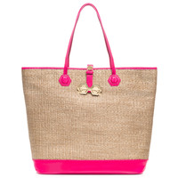 DUCHESS STRAW/PATENT LEATHER TOTE