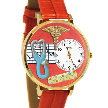 Whimsical Watches Healthcare Nurse Gift Accessories 2 Red Watch in Gold (Unisex)
