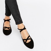 Head Over Heels By Dune Helenna Black Double Strap Flat Shoes