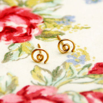 Spiral stud earrings small post earrings circle studs by AAprill