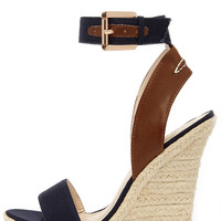 Tour Glide Navy Blue Espadrille Wedges