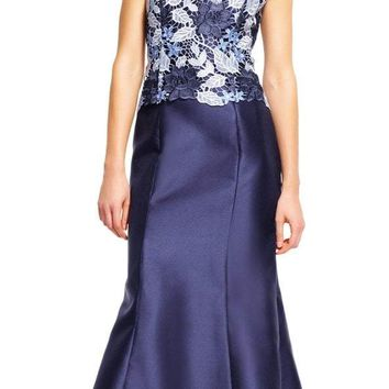 Adrianna Papell - AP1E201247 Off Shoulder Guipure Lace Mikado Gown