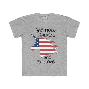 God Bless America and Unicorns Youth Shirt, 4th of July