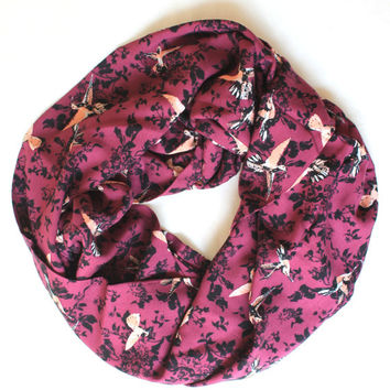 purple birds scarf,infinity scarf, scarf, scarves, long scarf, loop scarf, gift
