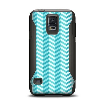 The Light Blue Thin Lined Zigzag Pattern Samsung Galaxy S5 Otterbox Commuter Case Skin Set