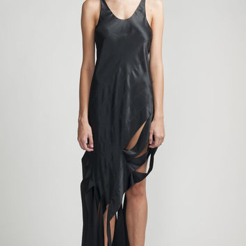 Alexander Wang Black Silk Satin Assymetrical Dress Bias Streamer Gown 2 Xs
