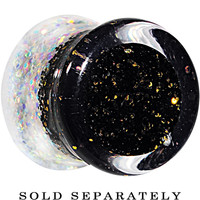 0 Gauge Black Gold White Acrylic Glitter Party Saddle Plug | Body Candy Body Jewelry