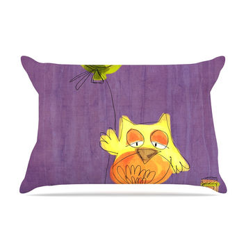 "Carina Povarchik ""Owl Balloon"" Purple Orange Pillow Sham"