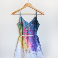Splash Dyed Hand PAINTED Deep V Neck Spaghetti Strap Mini Tunic Tee Dress in White Spectrum Rainbow - XS S M L XL