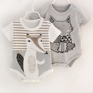 Gray, White, Pink Fox Collection  Jumpsuit Romper Baby Toddler Kid Child New Born