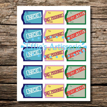 Funny STAMPED holiday gift tag medley- nice, no peeking, regifted - Sheet of 15- instant download, printable gift tags