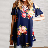 Floral Print Summer Strapless Tops T-shirts [11499130511]