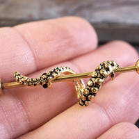 Gold Octopus Tentacle Industrial Barbell Piercing Upper Ear Ring
