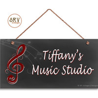 "Music Studio Sign, Personalized Sign, Custom Name Change, Gift For the Musician or Singer, Weatherproof, 5"" x 10"" Sign, Music Door Sign"