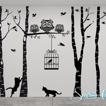 "96"" x 106 "" Birch tree birds cage owl cat design Vinyl DECAL Wall art Wall stickers No background large size home decor bedroom livingroom"