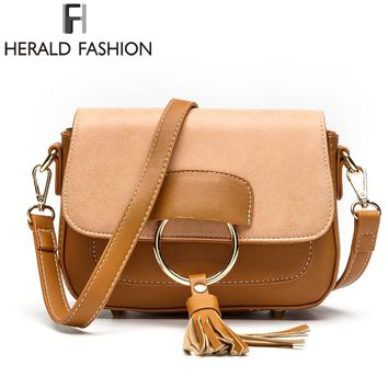 Tassel Saddle Bag Patchwork Women Flap Shoulder Bag PU Leather Messenger Cross body Bag
