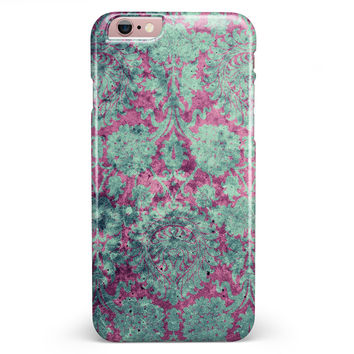 Grungy Teal and Pink Damask Pattern iPhone 6/6s or 6/6s Plus INK-Fuzed Case