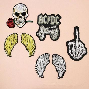 ESBON fashion Badge Wing Skull Band Costume Iron on Patches for clothing Sticker for clothes Jeans applique embroidery T-shirt