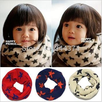 New Classic children's cotton scarf kids boy girl Ring Scarf Shawl Unisex Winter knitting stars Collar Neck Warmer Free shipping