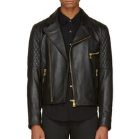 Versus Black Leather And Denim Combination Jacket