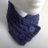 Ladies Marine Blue Cable Stitch Neck Warmer with Buttons - Hand Knitted in Scotland