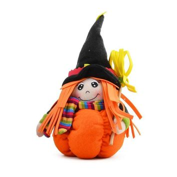 Halloween Witch Doll with Pumpkin Stand for Halloween Home Party Widow Ornament Halloween Centerpieces Table Decoration Supplies