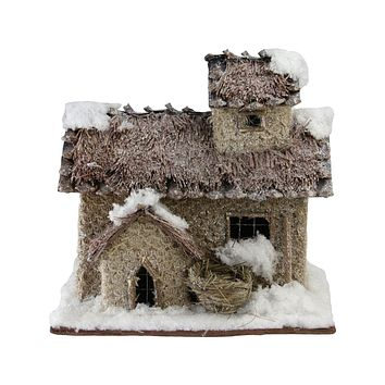 """9.25"""" Rustic Two Story Snowy Cabin Christmas Decoration"""