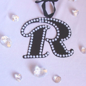 Fancy black metal initial, Pearl  wall letters, Hanging wall letters, kids door initials, Birthday cake letters, Home decor, kids room decor