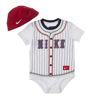 Nike Striped Baseball Creeper & Hat Set - Baby, Size:
