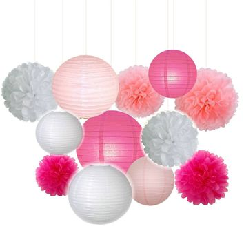 Pink, Hot Pink, White Party Tissue Poms & Lantern Set-Girls Party Hanging Decor Set| Pink Baby Shower |Girls Birthday | Pink Bridal Decor