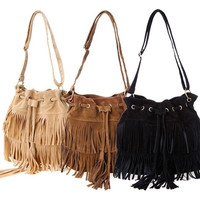 Faux Suede Fringe Tassel Shoulder Bag Women Handbags Messenger Bag SV013740|27701 = 1652570180