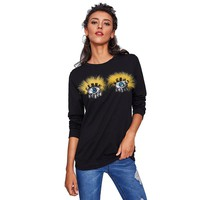 Women Black Crew Neck Top Autumn Long Sleeve Basic Sweatshirt