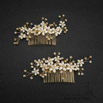 Fashion hair combs pearl jewelry crystal women hairpins bridal gold color hair ornament handmade wedding accessories Gift beiji
