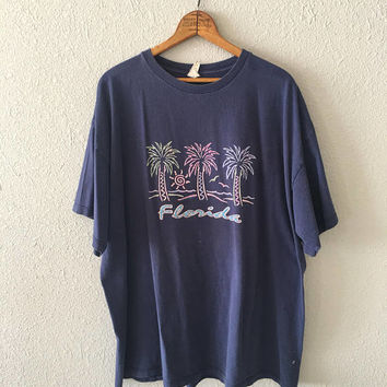 Vintage Florida Tourist Palm Tree Graphic 1980's/90's T Shirt