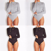Fashion Sexy Women Long Sleeve Stretch Bodysuit Lady Leotard Body