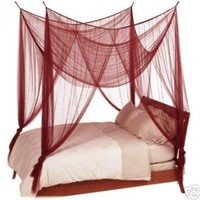 OctoRose ® 4 Poster Bed Canopy Netting Functional Mosquito Net Full Queen King (Burgundy)