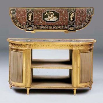 A GEORGE III GILTWOOD SIDE CABINET , IN THE MANNER OF HENRY HOLLAND