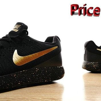 sneaker ties Nike LunarEpic Low Flyknit 2 Trainers 2017 Shoes Black Metallic Gold shoes