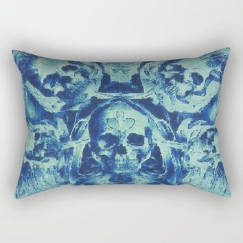 Blue Skulls (Abstract Surreal Blue Halloween Ghost Hour) Rectangular Pillow by Jeanette Rietz