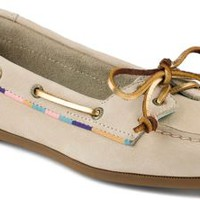 Sperry Top-Sider Audrey Satin Trimmed Slip-On Boat Shoe Ivory, Size 9.5M  Women's Shoes