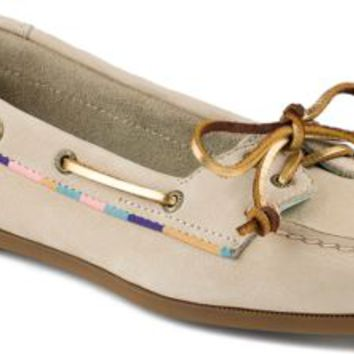 Sperry Top-Sider Audrey Satin Trimmed Slip-On Boat Shoe Ivory, Size 7M  Women's Shoes