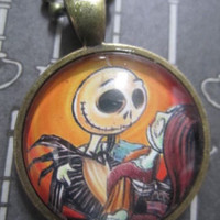 Jack and Sally Nightmare Before Christmas Pendant Necklace (orange)