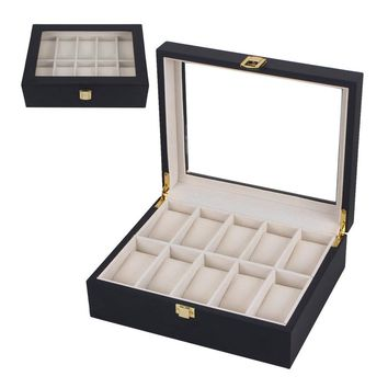 GENBOLI 10 Slots Black Wooden Watches Box Casket Diy Jewelry Organizer Holder Storage Display Case Stand Rack Showcase Gift